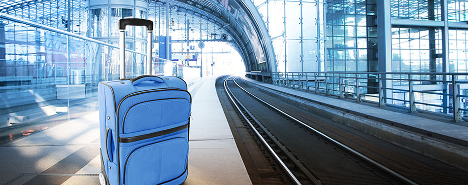 luggage in empty subway