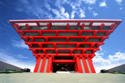 red temple under blue sky