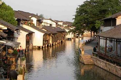 Wuzhen Water Town under blue sky
