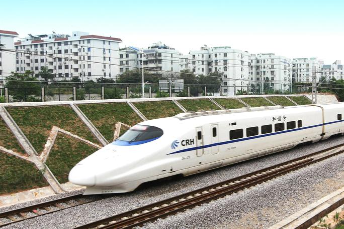 high speed train white in china
