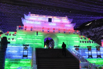 ice festival in china at night
