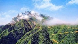 aerial shot of Baiyun Mountain with clouds