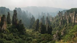 aerial shot of Zhangjiajie National Park