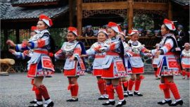 Matanggejia Village and traditional girls in costume in china