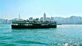 Star Ferry on water on sunny day