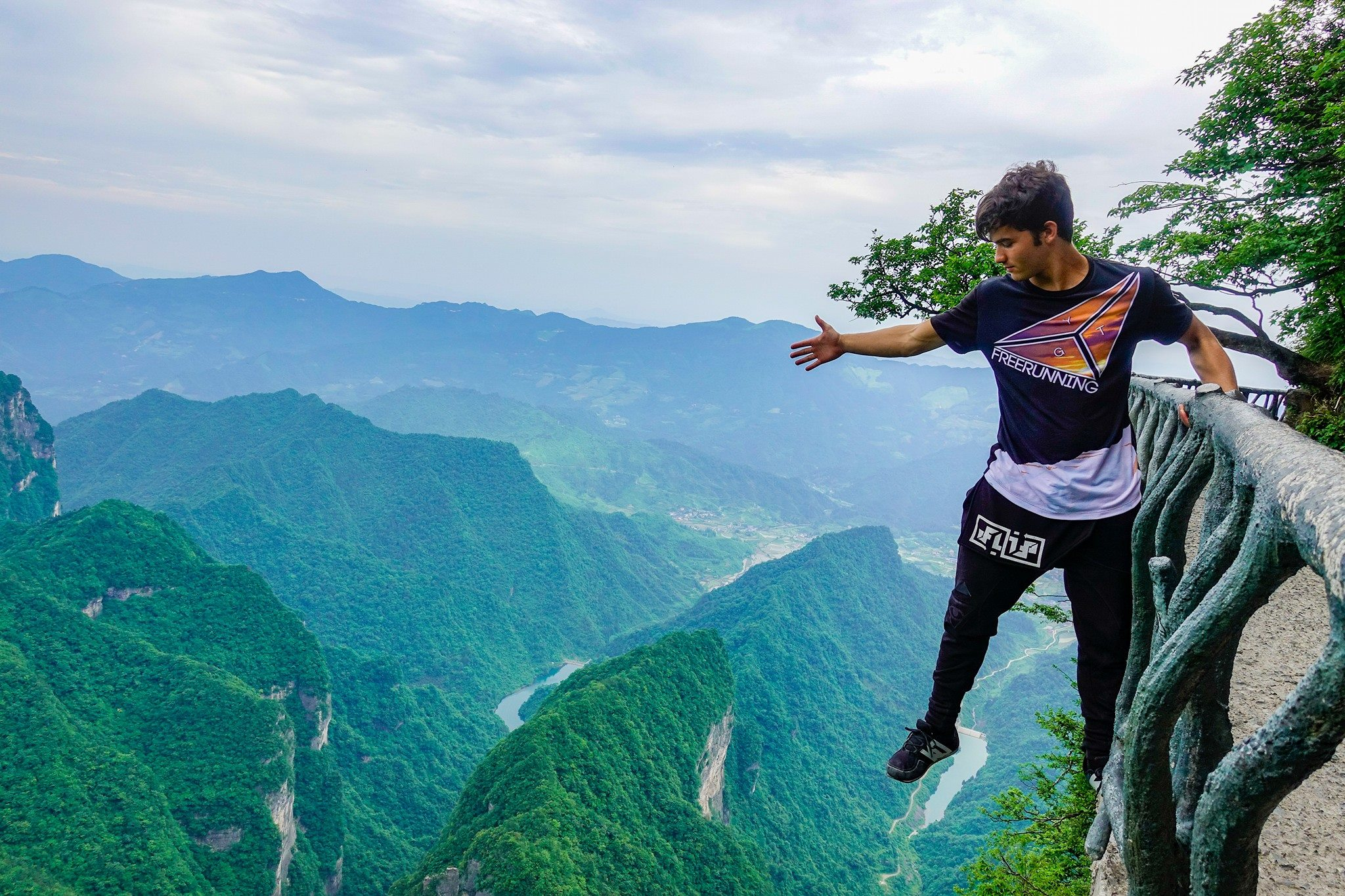 calen chan over tianmen mountains for skyladder video in china