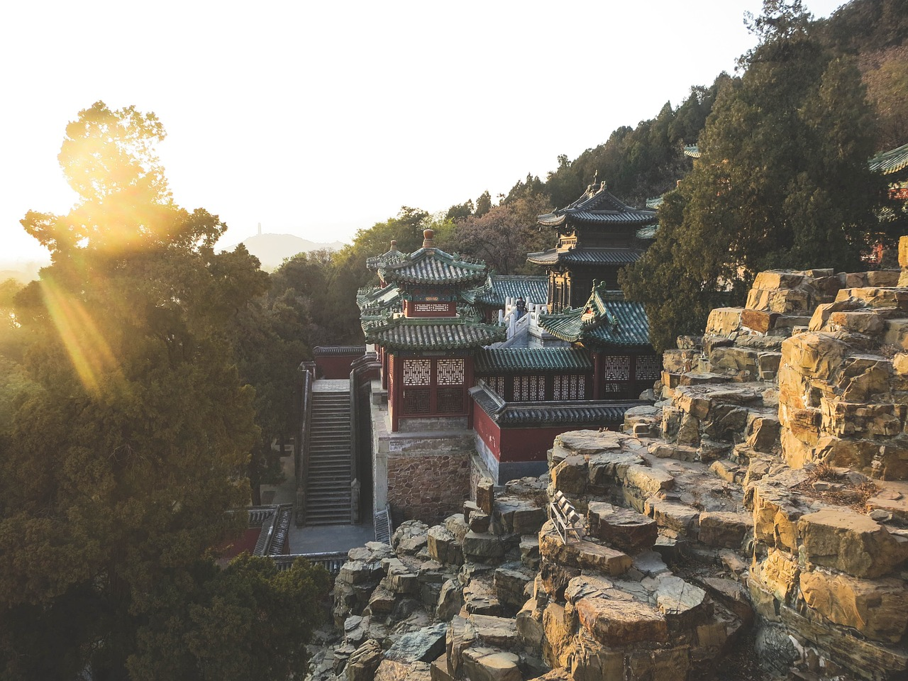 summer palace with sun